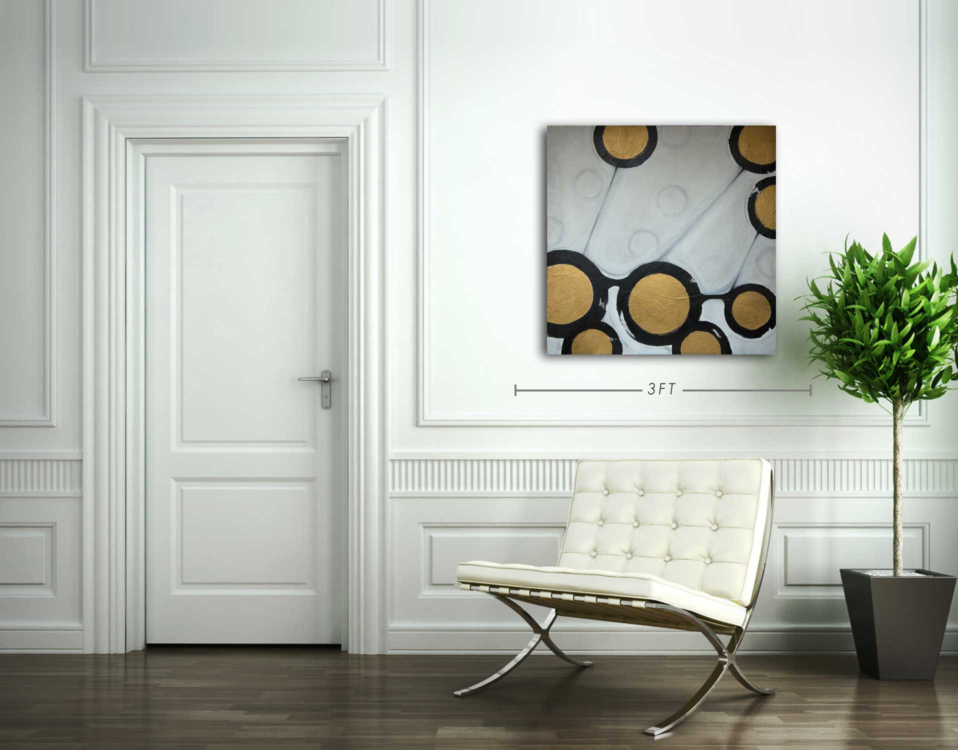 Black, White and Gold Abstract Painting by Robert Slivchak